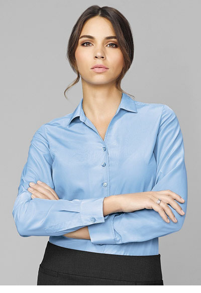 40410 Solanda Ladies Plain L/Sleeve Shirt