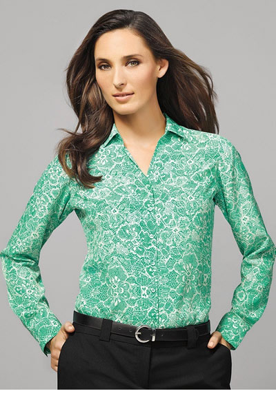 40510 Solanda Ladies Print L/Sleeve Shirt
