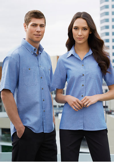LB6200 Ladies Wrinkle Free Chambray Short Sleeve Shirt