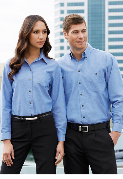 LB6201 Ladies Wrinkle Free Chambray Long Sleeve Shirt