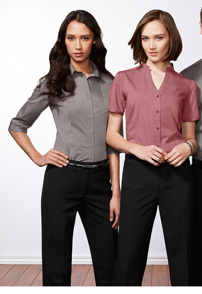 S262LS Ladies Chevron Stand Collar Shirt